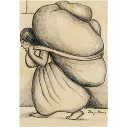 Mexican Charcoal Paper Woman Signed Diego Rivera