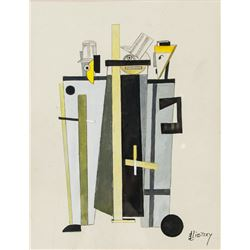 Russian Suprematist Gouache Signed Lissitzky