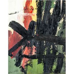 American Gouache Abstract Signed Kline