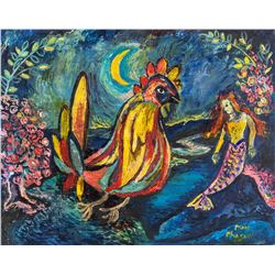 French Oil Rooster & Mermaid Signed Marc Chagall