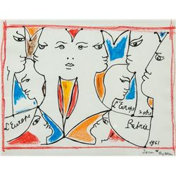 French Mixed Media on Paper Signed Jean Cocteau