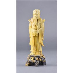 Chinese Soapstone Carved Immortal Holding Child