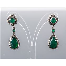 18k Gold Emerald Drop and Cabochon Earrings