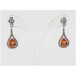 Padparadscha Sapphire and Topaz Silver Earrings
