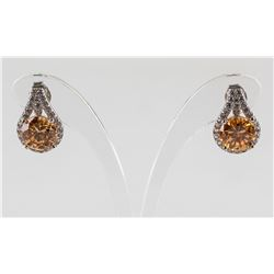 2ct Padparadscha Sapphire and Topaz Silver Earring