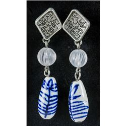 Vintage Blue and White Stone Beads Earring