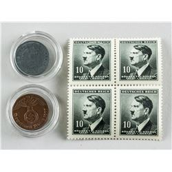 1930-1940s Assorted Germany Coins and Stamps