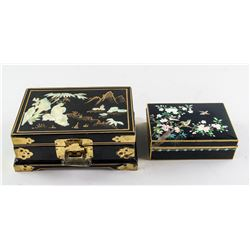 2 Assorted Chinese Wood and Brass Boxes w/ Inlaid