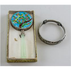 Chinese Hand Mirror and Bracelet with Zu Yin Mark
