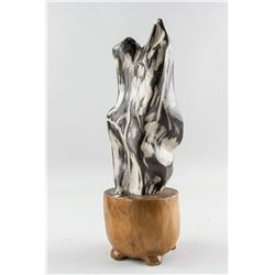 Fossilized Wood Scholar's Stone with Stand