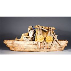 Chinese Porcelain Carved Figure Fisherman & Boat
