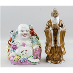 Chinese Porcelain Happy Buddha & Scholar Statues