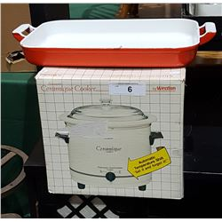 NEW IN BOX WESSTON CERAMIC COOKER & ENAMEL ON CAST IRON PAN