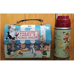 VINTAGE LOONEY TUNES METAL LUNCH BOX W/THERMOS