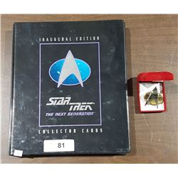 STAR TREK INAUGURAL EDITION COLLECTOR CARDS AND BADGE
