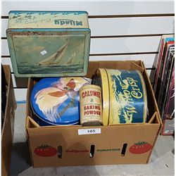 BOX LOT VINTAGE COLLECTIBLE TINS