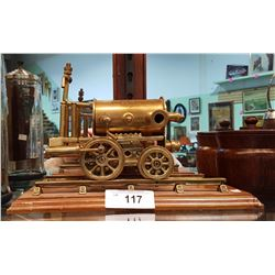 BRASS STEAM ENGINE STATUE ON STAND