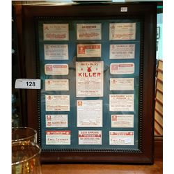 FRAMED VINTAGE POISON LABELS