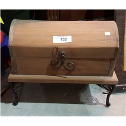WOOD TREASURE CHEST W/WROUGHT IRON LEGS
