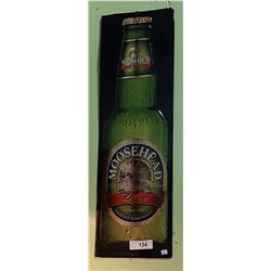 EMBOSSED MOOSEHEAD LAGER TIN BEER SIGN