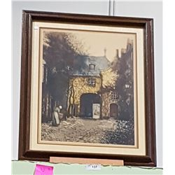 FRAMED PRINT OF EUROPEAN GATEHOUSE
