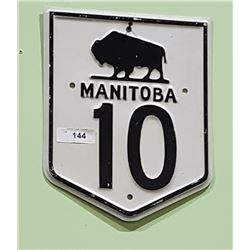 HEAVY GAUGE METAL MANNITOBA HIGHWAY 10 BUFFALO SIGN