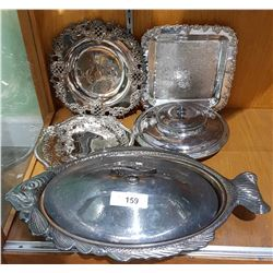 5 PIECES OF VINTAGE SILVER PLATE SERVING WARE