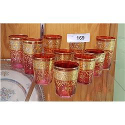 SET OF 10 VINTAGE BOHEMIAN CRANBERRY GLASS SHOTGLASSES W/ELABORATE GOLD FILIGREE