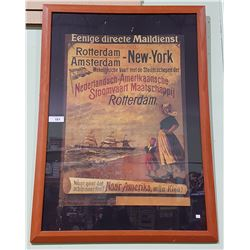 FRAMED ROTTERDAM/AMSTERDAM-NEW YORK SHIPPING AD