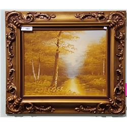 ORNATE GILT FRAMED OIL ON CANVAS OF AUTUMN FORREST SIGNED CANTRELL
