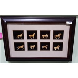 FRAMED SHADOWBOX W/8 ASIAN HORSE FIGURINES