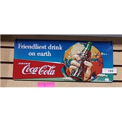 COCA-COLA EMBOSSED TIN SIGN