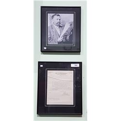 FRAMED PHOTO OF THE YUKON GOLD COMMISIONER CIRCA 1908 AND FRAMED LETTER