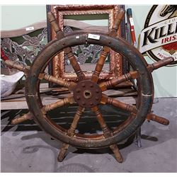 ANTIQUE IRON AND MAHOGANY 8 SPOKE SHIPS WHEEL