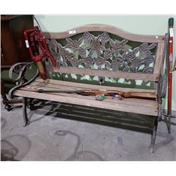 VINTAGE WROUGHT IRON AND WOOD GARDEN BENCH