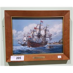 FRAMED TILE TITLED THE PRINS WILLEM ANTIQUE WAR SHIP BY THOMAS FREEMAN