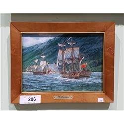 FRAMED TILE TITLED THE RESOLUTION ANTIQUE WAR SHIP BY THOMAS FREEMAN
