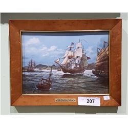 FRAMED TILE TITLED THE EMPRESS OF CHINA ANTIQUE WAR SHIP BY THOMAS FREEMAN
