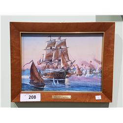 FRAMED TILE TITLED THE USS CONSTITUTION ANTIQUE WAR SHIP BY THOMAS FREEMAN