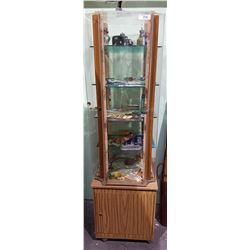 ROTATING DISPLAY CASE FULL OF COLLECTIBLES