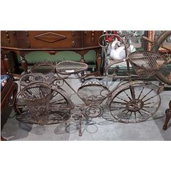 VINTAGE WROUGHT IRON BICYCLE GARDEN PLANTER