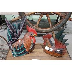 2 VINTAGE HAND PAINTED CARVED WOOD ROOSTERS