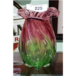 VINTAGE TWO TONE CRANBERRY ART GLASS VASE