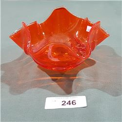 VINTAGE MID CENTURY MODERN ORANGE ART GLASS