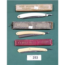3 ANTIQUE STRAIGHT RAZORS IN BOXES