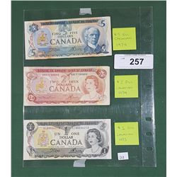 VINTAGE CANADIAN $5 BILL, $2 BILL, AND $1 BILL