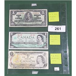 3 VINTAGE CANADIAN $1 BILLS