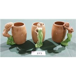 3 VINTAGE NOVELTY MUGS W/FIGURAL RISQUE LADY HANDLES