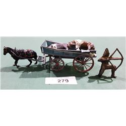 VINTAGE CAST METAL WAGON AND HORSES AND NATIVE AMERICAN TOYS