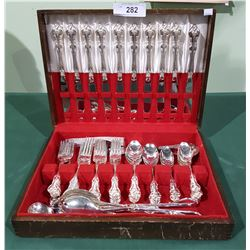 APPROX 60PC 1847 ROGER BROTHERS SILVER PLATE FLATWARE SET IN ORLENES PATTERN